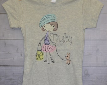 Personalized Girl with Purse and Dog Embroidered Shirt or Onesie Girl