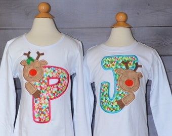 Initial with Reindeer Applique Shirt or Onesie Boy or Girl Choose your color!