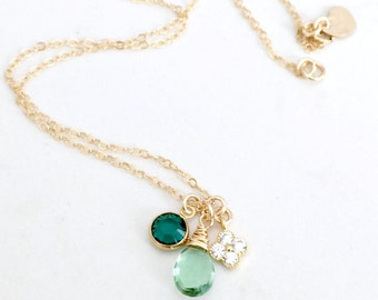 Seafoam gemstone Necklace cubic zirconia clover emerald birthstone seafoam green quartz heart tag hand stamped initial personalized necklace