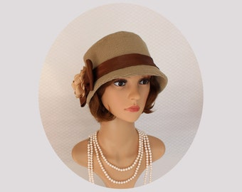 Great Gatsby hat in sand and chocolate brown, 1920s cloche hat, flapper hat, Downton Abbey hat, Miss Fisher hat, 1920s fashion, 20s hat