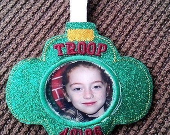 Photo Girl Troop Ornament - Slip In Photo - Christmas - In The Hoop - DIGITAL Embroidery DESIGN