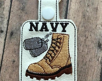 Navy Mom - Sailor - Combat Boot - Dog Tags - Key Fob Design - DIGITAL EMBROIDERY Design