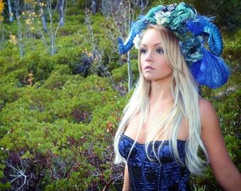Horned Headdress/READY TO SHIP/ Flower Headdress/ Ram Horns/ Flower Crown/ Fawn Headdress/Satyr/ Fawn/ Bohemian/ Flower Crown/ Fairy