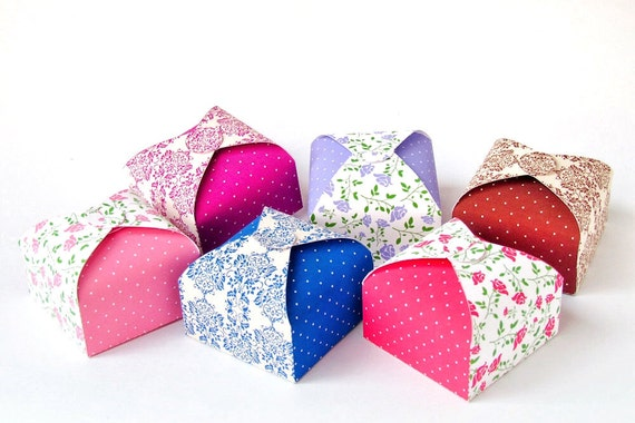 DIY Printable party favor boxes Set of 6 No glue slotted