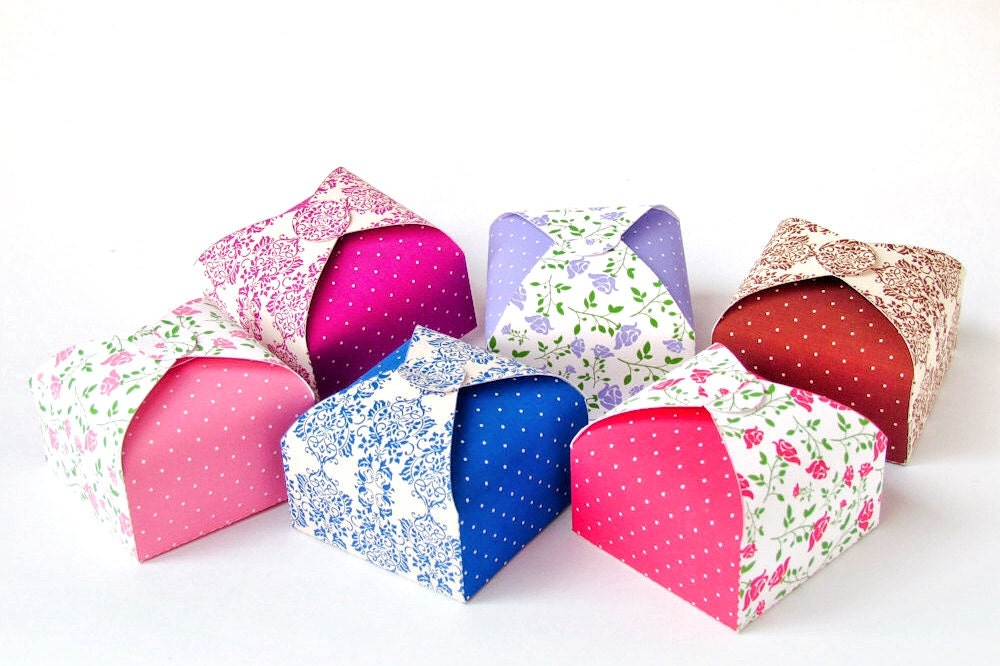 Favor Gift Boxes: DIY Printable Party Favor Boxes Set Of 6 No Glue Slotted