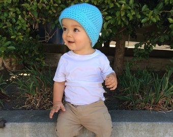 Cuffed Crochet Beanie Solid Color// Crochet Hat//Baby and Toddler// Baby Shower Gift//Kids Gift