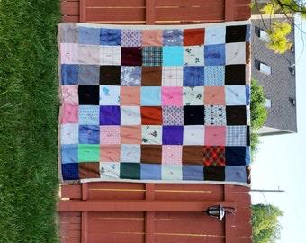Vintage Polyester Quilt BoHo Quilt 1970's Quilt Mod Quilt Patchwork Quilt Handmade Retro Quilt Picnic Blanket Multi Colored Quilt Bedspread