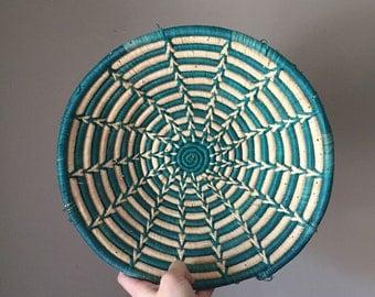 Vintage Southwestern basket / 1980s/ teal