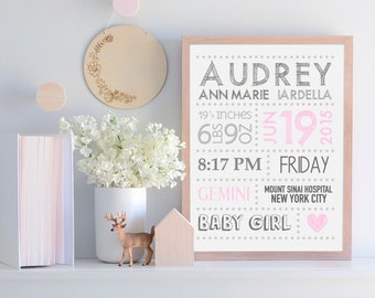 Nursery Decor, Baby Stats, Newborn Baby, Baby Girl, Baby Boy, Custom, Print