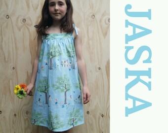 JASKA girls dress, unique girls dress, girls summer dress, special occasion dress, 100% cotton dress