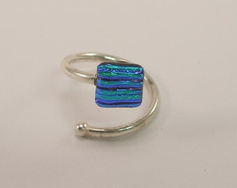 Dchroic Glass Ring, contrariè ring, Venetian glass jewel, Sterling Silver ring