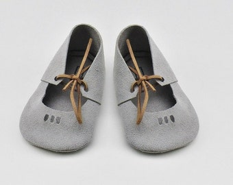 Mary Jane Moccasins in Grey