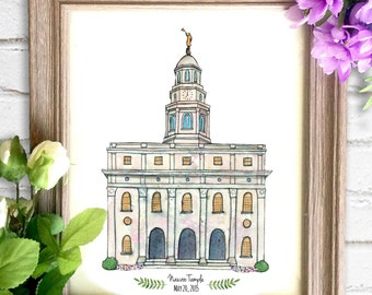 Nauvoo Temple Watercolor Art Print- Personalized Gift, Painting, Art, Illustration, LDS Art, Nauvoo Illinois LDS Temple, Wedding Gift, Date