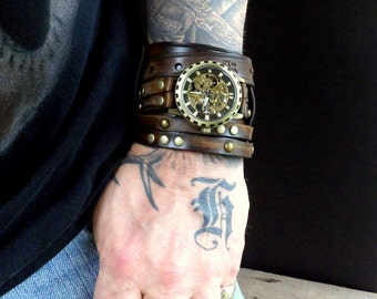Men's leather watch, Steampunk watch, leather wrist watch, Brown leather cuff, Watch cuff, Leather bracelet, Leather Watch, Watch band