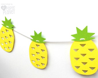 Tropical pineapple banner. Yellow and Green. Bunting, garland. Birthday party, celebrations, summer, luau, party decorations.