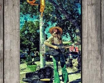 Funky Guitar Player - Musician, Music, South Congress, Photography - Austin, TX - Fine Art Print - Canvas Gallery Wrap - Metal Print