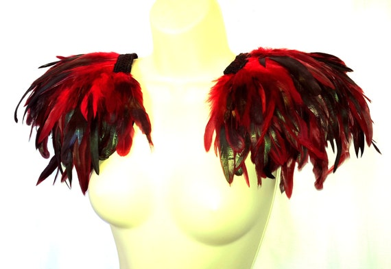 Large red and black iridescent feather epaulettes for Halloween