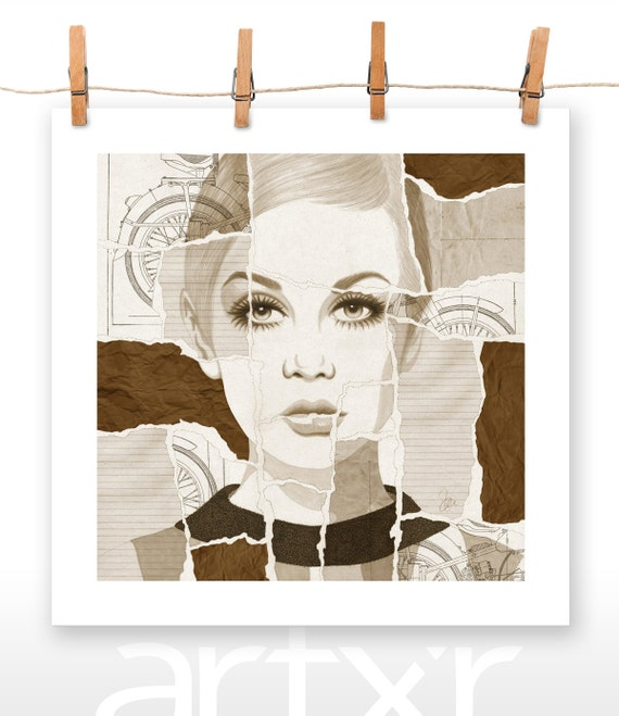 TORN SERIES - VOLUME 04 - Twiggy - Print of a Hand Drawn Illustration with Digital Colors and Paper Textures Added