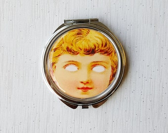 Creepy Cute Pocket Mirror Doll Face Pastel Goth Compact