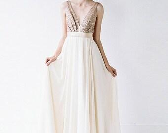 Eden // Rose Gold Sequinned, Backless Wedding Dress // Flash Sample Sale