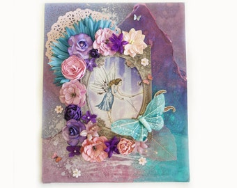 Fairy art / fantasy art / faerie / flowers / butterfly / garden / mixed media / canvas