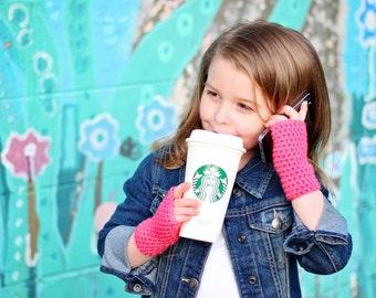 Girls Fingerless Gloves - Childrens Fingerless Gloves - Kids Gloves - Baby Gloves - Toddler Gloves - Crochet Mittens - Pink Gloves
