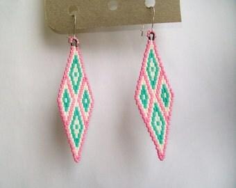 Pink Beaded earrings, geometrical earrings, pink, mint, beaded earrings, chandelier earrings, beaded earrings, diamond shaped, boho chic