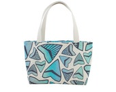 """Beach Bag Tote - One of a Kind """"Shark Tooth"""" Print - Made in Hawaii by Jana Lam"""
