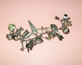 SALE! Antique 1940 Sterling Silver Charm  Bracelet 23 Charms-Southwest-Teepee-Drum-Pots-Canoo-Moveable-Headdress-Outhouse-Rifle-Puffy Hearts