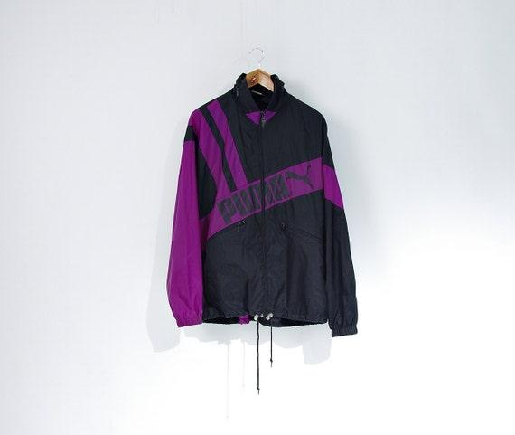 SALE 30% OFF - 90s Puma Oldschool Hidden Hoodie Nylon Windbreaker Jacket / Size M/L