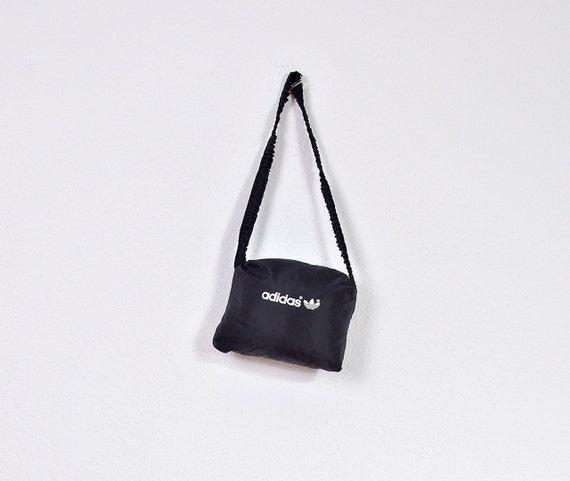 SALE - 80s Adidas Oldschool Hoodie Windbreaker Folds to a Pocket / Size M/L