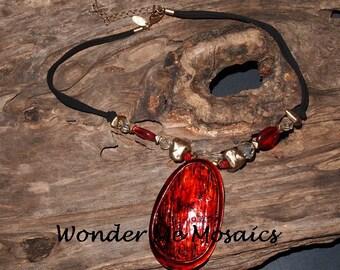 30% SALE  Large Red / Orange Pendant Necklace - Alcohol Ink