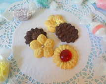 Fake Cookies Set B Five Handmade Press Spritz Danish Butter Shortbread E