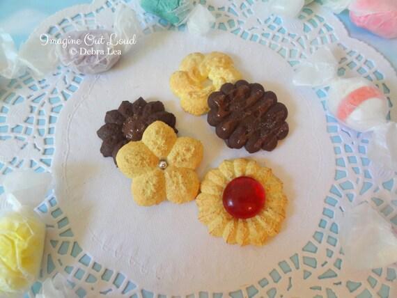 Fake Cookies Set B Five Handmade Press Spritz Danish Butter Shortbread E