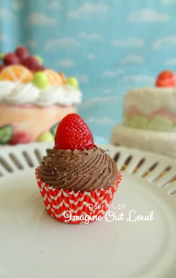 Fake Cupcake Handmade Fake Chocolate Cupcake with Whipped Frosting Strawberry Red Chevron Liner