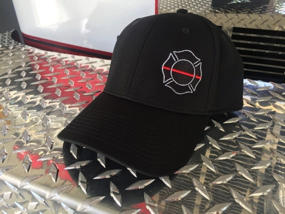 Thin Red Line , Firefighter Flex Fit Hat ~ Fire Department, rescue, ems, remember, maltese cross