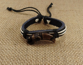 Elephant Bracelet - Leather Elephant bracelet - Elephant Leather Bracelet - Black Leaether  Bracelet - Good Luck Bracelet -Elephant Jewelry