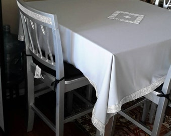 Silver sequenced tablecloth for special occasions or wedding. Square. Handmade
