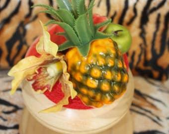 "Red straw ""Carmen Miranda"" fuit and flower Tropical Fascinator, Pinup, Burlesque, Tiki Oasis, VLV"