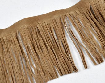 "4"" Long Faux Suede Fringe Trim by Yard, EXP-IR6825"