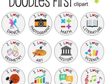 I Love School Collage Sheets for Scrapbooking Card Making Cupcake Toppers Paper Crafts Digital Collage Sheet
