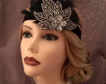 1920s Inspired Art Deco Beaded Silver Black Leaf Flower Flapper Head Piece Headband Gatsby 20s style headband Glitzy Hair Art Deco (663)