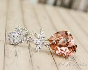 Blush Pink Earrings Blush Bridal Jewelry Blush Bridesmaid Jewelry Set Bridal Earrings Soft Pink Bridal Jewelry Long Bridal Earrings