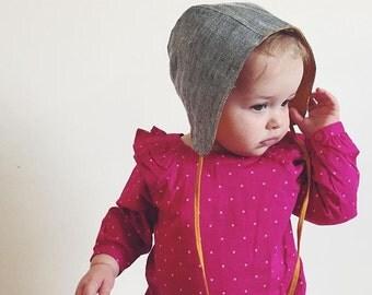 Baby Bonnet, Linen Bonnet, Reversible Bonnet, Linen Hat Baby, Winter Hat, Baby Photo Prop, Herringbone Linen