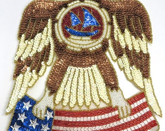 "Eagle with American Flag Appliqué, Sequin Beaded, 12"" x 9""  -JJ743-B102-B103-1681"