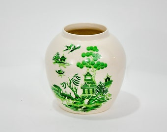 Bristol Pottery Twinings Tea Jar London England Vase Vintage Loose Tea Asian Pagoda Vintage Vase