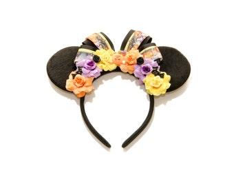 Princess Halloween Mouse Ears Headband, Princess Mouse Ears, Halloween Ears, Mouse Costume, Halloween Headband, Flower Mouse Ears