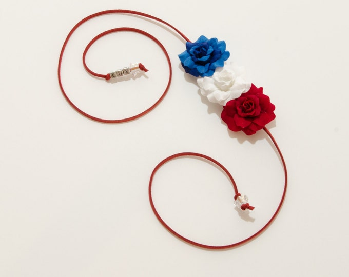 Patriotic Rose Side Flower Crown