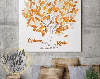 Wedding Tree Guest Book   Wedding Guest Book Tree   Personalized Wedding Print   50-300 Guests   Canvas or Flat Print   Wedding orange grey