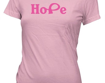 AproJes Hope Breast Cancer Awareness Pink Ribbon T-Shirt for Juniors